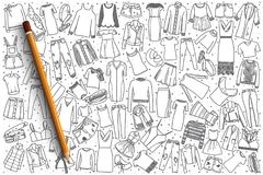 Hand drawn women`s clothing set background. Hand drawn women`s clothing vector doodle set background vector illustration