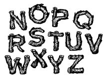 Hand drawn wooden alphabet font Royalty Free Stock Images