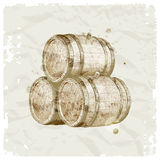 Hand drawn wooden barrels Stock Photos