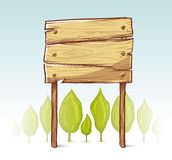 Hand drawn wooden sign. A wooden sign in forest illustration Stock Photos