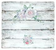 Vintage Wooden Background with White Roses. Hand drawn wooden vintage background with flowers. Great for creating vintage designs and postcards Royalty Free Stock Photo
