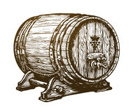 Free Hand Drawn Wooden Wine Cask. Drink, Oak Barrel Sketch. Vintage Vector Illustration Stock Photos - 89830313