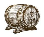 Hand drawn wooden wine cask. Drink, oak barrel sketch. Vintage vector illustration Stock Photos