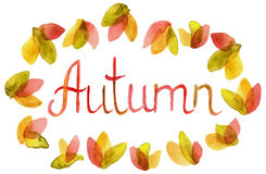 Hand drawn Word Autumn in watercolor leaves frame Stock Photo