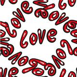 Hand drawn word love vector seamless pattern on white background for Saint Valentine Stock Photography