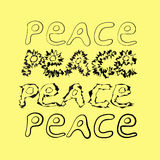 Hand-drawn word peace. 4 variants. Stock Images