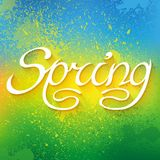 Hand drawn word SPRING lettering on colorful paint Stock Photography