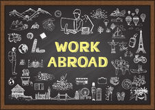 Hand drawn about work abroad on chalkboard Stock Photos