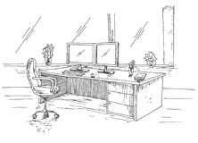Hand drawn workplace behind the monitors. Working table with two monitors, office chair. Vector illustration of a sketch style.  Stock Image