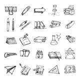 Hand drawn workplace with stationery set doodle icon. Hand drawn royalty free illustration