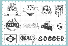 Hand drawn World cup set A Royalty Free Stock Image