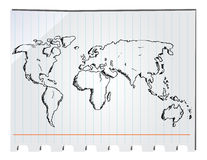 Hand drawn world map Stock Image