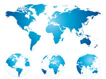 Hand drawn world map and globes Royalty Free Stock Photography