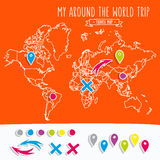 Hand drawn world map with pins and arrows vector Royalty Free Stock Image