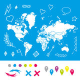 Hand drawn world map with pins and arrows vector Royalty Free Stock Images