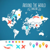 Hand drawn world map with pins and arrows vector Royalty Free Stock Photography