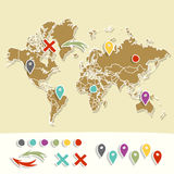 Hand drawn world map with pins and arrows vector Stock Photo