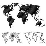 Hand drawn world map in three versions Stock Image
