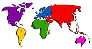 Hand drawn world map Royalty Free Stock Image