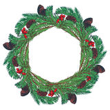 Hand drawn wreath with and fir tree branches, cones  red rowanberries. Stock Photo