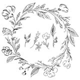 Hand drawn  wreath. Floral circle frame design elements for invitations, greeting cards, posters, blogs. Delicate set of flowers,. Branches and leaves royalty free illustration