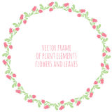 Hand drawn wreath with flowers leaf and branches. Round frame for Christmas cards and for invitations to any festive event Royalty Free Stock Photos