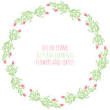 Hand drawn wreath with flowers leaf and branches. Round frame for Christmas cards and for invitations to any festive event Royalty Free Stock Images