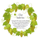 Hand drawn wreath with grapes  on white background. It can be used for weddings, invitations, menus Royalty Free Stock Photo