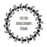Hand drawn wreath made in vector. Leaves garlands. Romantic floral design elements. Stock Photography