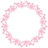 Hand drawn wreath with rose flowers leaf and branches. Round frame for cards and invitations to any festive event Royalty Free Stock Photo