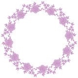Hand drawn wreath with rose flowers leaf and branches. Round frame for cards and invitations to any festive event Royalty Free Stock Images