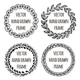 Hand drawn wreath set made in vector. Leaves garlands. Romantic floral design elements. Royalty Free Stock Image