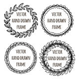 Hand drawn wreath set made in vector. Leaves garlands. Romantic floral design elements. Stock Photos