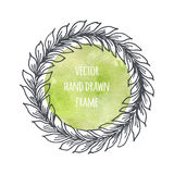 Hand drawn wreath set made in vector. Leaves garlands. Romantic floral design elements with watercolor background. Stock Images