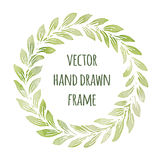 Hand drawn wreath set made in vector. Leaves garlands.  Royalty Free Stock Photos