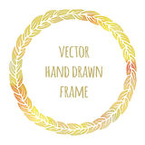 Hand drawn wreath set made in vector. Leaves garlands.  Royalty Free Stock Image