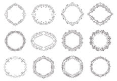 Hand drawn wreaths Stock Images