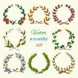 Hand drawn wreaths colored set Royalty Free Stock Photos