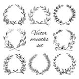 Hand drawn wreaths set Stock Photos
