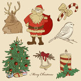 Hand drawn xmas set Stock Image