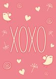 Hand drawn XOXO card. Valentines day template that reads XOXO (hugs and kisses). It has hearts, birds, doodles and dandelions. It can be used as a poster, a card Royalty Free Stock Photo