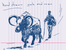 Hand drawn yak and man Royalty Free Stock Images