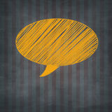 Hand drawn yellow chalked speech on design background Royalty Free Stock Photos