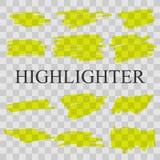 Highlighter. Hand drawn yellow highlight marker lines. Highlighter strokes vector set. Vector illustration stock illustration