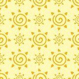 Hand drawn yellow sun planet seamless pattern background star vector illustration. Hand drawn yellow sun planet star vector illustration. Universe astronomy Royalty Free Stock Photos
