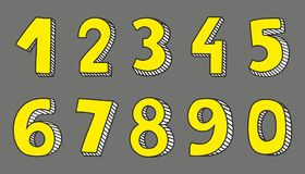 Hand drawn yellow vector numbers. Isolated on grey background Stock Illustration
