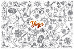Hand drawn Yoga doodle set with lettering Stock Photography
