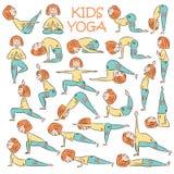 Hand-drawn Yoga kids set royalty free illustration