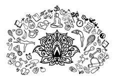 Hand drawn yoga sketches , illustration. Royalty Free Stock Photography