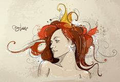 Hand drawn young lady Royalty Free Stock Image